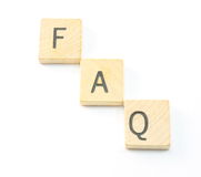 FAQ. Wooden frequently asked questions blocks Royalty Free Stock Photos