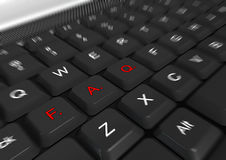 FAQ. Text on a keyboard with blur effect Royalty Free Stock Images