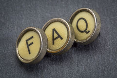FAQ-acroniem in schrijfmachinesleutels Stock Afbeeldingen