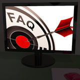 FAQ Aim On Monitor Showing Customer Service Royalty Free Stock Photo