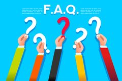 Faq ask or query concept flat style. Faq ask concept in flat style. Query symbol with question mark. Vector design stock illustration