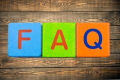 Faq. Asking block frequently single word s cube stock photo