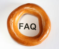 FAQ and bagel Royalty Free Stock Photo