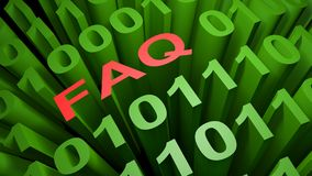 FAQ in the binary code - 3D rendering. FAQ is written with red letters among many zeros and ones written in the green characters of the computer screen Stock Image