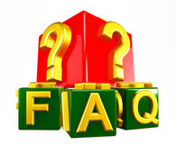 FAQ Blocks on white Stock Photo