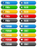 FAQ Blog Forum Chat Buttons. Collection of 4 colorful media and customer assistance buttons (FAQs, blog, forum, chat) in five different colors, isolated on white Stock Photography