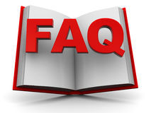 Faq book. 3d illustration of opened book with 'faq' sign royalty free illustration