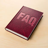FAQ book. Frequently asked question. Stock Photo