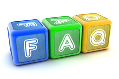 FAQ Building Blocks. A Colourful 3d Rendered Illustration of FAQ Building Blocks Stock Images