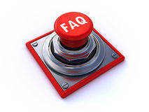 Faq button. 3d render of a faq button over a white background stock illustration