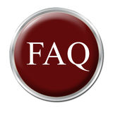FAQ Button. Isolated round button with the abbreviation FAQ - white background royalty free illustration