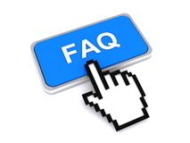 FAQ button and cursor hand. Cursor hand over FAQ or frequently asked questions button, isolated on white background Royalty Free Stock Photography