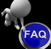 FAQ Button Means Website Inquires And Information Royalty Free Stock Image