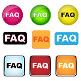 Faq buttons. Set of nine colorful faq buttons or icons isolated on white background.EPS file available stock illustration