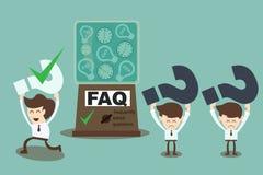 FAQ cocnept - machine die vaak gestelde vragen beantwoorden Stock Foto