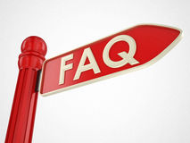 Faq and computer directional sign. 3d high quality rendering Royalty Free Stock Photography