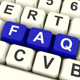 FAQ Computer Keys In Blue Showing Information Royalty Free Stock Image