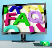 Faq On Computer Screen Showing Online Help Royalty Free Stock Image