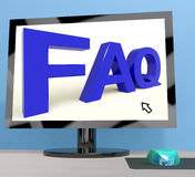 Faq On Computer Screen Shows Online Help Stock Photography