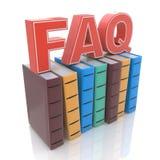 FAQ con los libros - concepto de la respuesta de la búsqueda Imagen de archivo libre de regalías