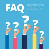 Faq concept. Businessman hands holding question marks. Quiz and online support vector illustration. Faq support, asking and solving royalty free illustration