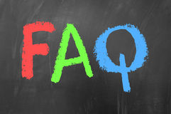 Faq. Concept drawn with colored chalk on blackboard stock images