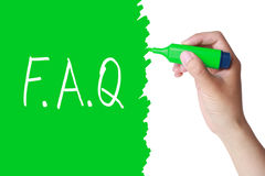 FAQ Concept. Hand with green marker drawing concept of F.A.Q isolated on white Royalty Free Stock Images