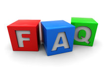 Faq cubes. 3d illustration of colorful cubes with 'faq' sign royalty free illustration