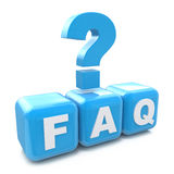 Faq cubes 3d and question mark render illustration   Stock Photography