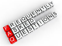 FAQ cubes. 3D render of cubes arranged to form the word Frequently asked questions on white background. The word FAQ is highlighted with red cubes vector illustration