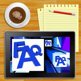 FAQ On Cubes Shows Advice With Tablet Royalty Free Stock Images