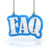FAQ 3D word hanging on white background clipping path Royalty Free Stock Image
