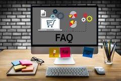 FAQ del servicio de atención al cliente, información de la pregunta del FAQ con frecuencia Fotos de archivo