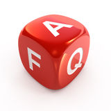 FAQ dice. Red FAQ dice isolated on white royalty free illustration