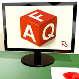 Faq Dice On Computer Screen Royalty Free Stock Photo