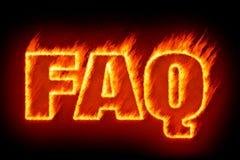 FAQ en llamas Fotos de archivo libres de regalías