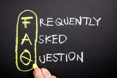 FAQ. Explanation of website FAQ on chalkboard royalty free stock image