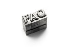 FAQ, FAQs, frequently, frequent, ask, question, letterpress. FAQ, frequently ask question sign lighting in studio stock photos