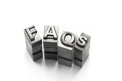 FAQ, FAQs, frequently, frequent, ask, question, letterpress Royalty Free Stock Images