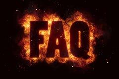 Faq fire text flame flames burn burning hot explosion Royalty Free Stock Photos