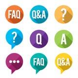 FAQ Flat Symbols Royalty Free Stock Images