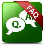 FAQ-Frage-Antwortblasenikonengrün-Quadratknopf Lizenzfreies Stockbild