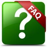 FAQ-Fragenikonengrün-Quadratknopf Lizenzfreies Stockfoto