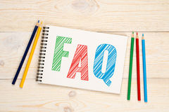 FAQ, frequently asked question concept. FAQ, frequently asked question with colorful pencils concept Royalty Free Stock Photos