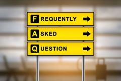 FAQ or Frequently asked questions on airport sign board Royalty Free Stock Photography