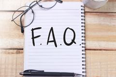 FAQ, Frequently Asked Questions. Motivational internet business words quotes. Lettering typography concept royalty free stock image