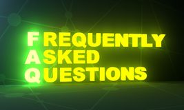 Business concept acronym. FAQ - frequently asked questions neon shine text. 3D rendering Royalty Free Stock Images