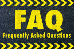FAQ - frequently asked questions word. On road Stock Images