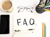 FAQ, Frequently Asked Questions. Words Typography Concept. FAQ, Frequently Asked Questions. Motivational internet business words quotes lettering typography royalty free stock images