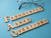 FAQ, Frequently Asked Questions. Words Typography Concept. FAQ, Frequently Asked Questions. Motivational internet business words quotes lettering typography stock image